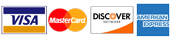 We accept all major credit cards, Visa, MasterCard, Discover and American Express